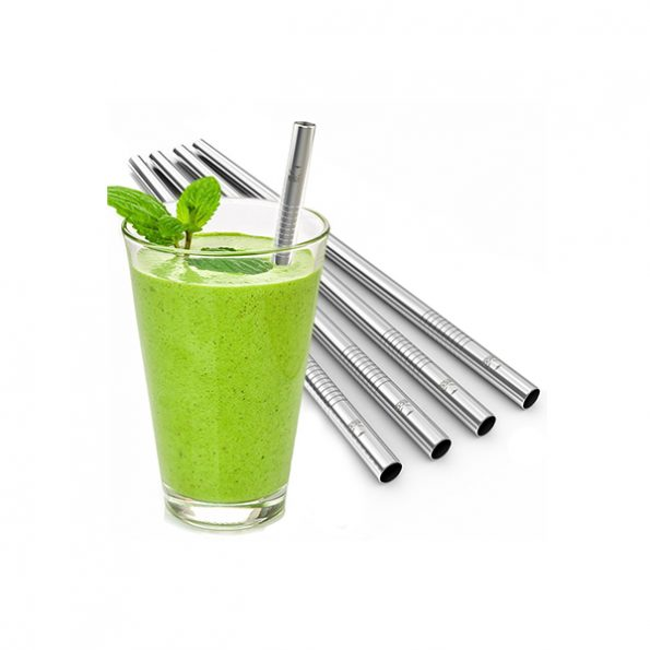 Reusable Stainless Steel Wide Smoothie Straws, Pack of 5