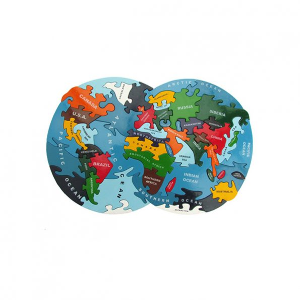 Handmade Wooden World and Zoo Jigsaw Puzzles